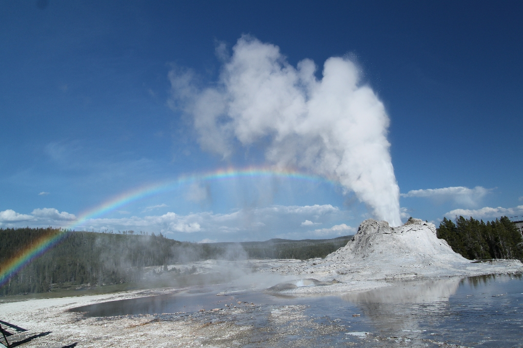 Dag 9: Yellowstone's Old Faithful, Castle en Grant geisers