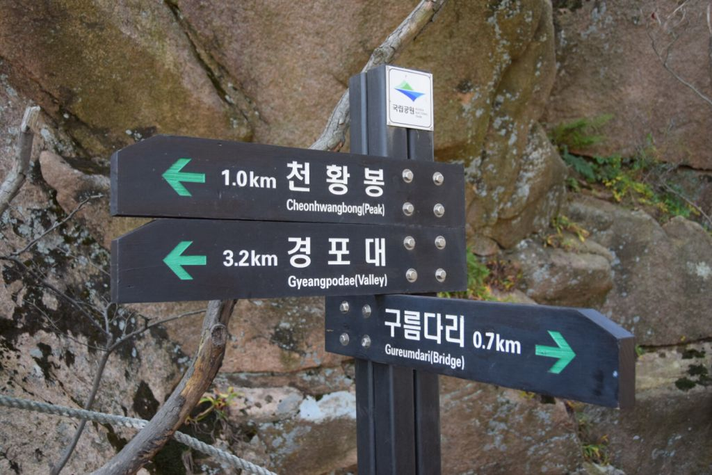 Bewegwijzering in Wolchulsan National Park